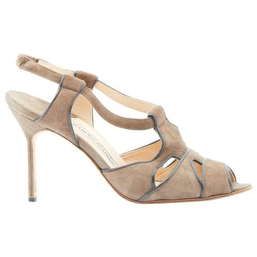 Manolo Blahnik Brown Suede Sandals
