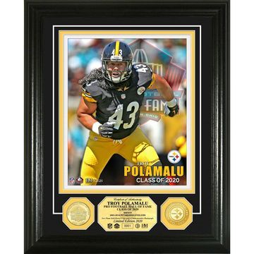 Highland Mint Troy Polamalu Pittsburgh Steelers 2020 Pro Football Hall of Fame 13'' x 16'' Bronze Coin Photo Mint
