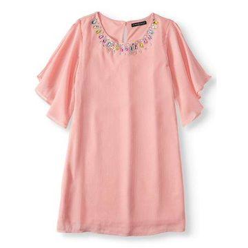 Jewel Neck 3/4 Sleeve Shirt Dress (Big Girls)