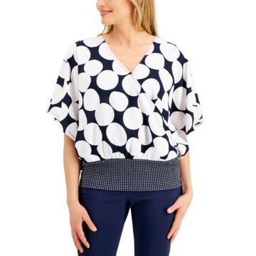 Jm Collection Polka-Dot Banded-Hem Top, Created for Macy's