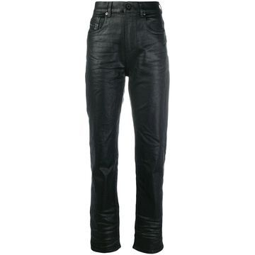 waxed-effect high-waisted trousers