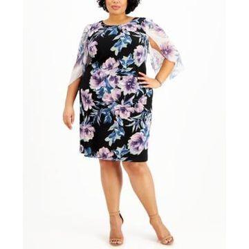 Connected Plus Size Floral-Print Sheath Dress