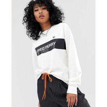 Fred Perry logo stripe sweatshirt-White