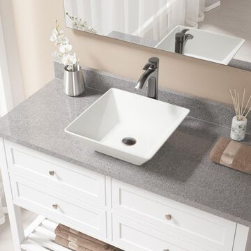 MR Direct Bisque Porcelain Vessel Square Bathroom Sink with Faucet (Drain Included) (15.75-in x 15.75-in) in Off-White | V170-B-726-ABR