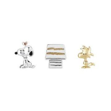 Peanuts Tri-Tone Snoopy, Woodstock, Dog House Lapel Pin Set, 3 Pieces