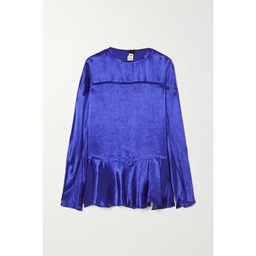 Marni - Frayed Ruffled Cupro-satin Blouse - Blue