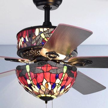 Jalev 6-Light Dragonfly Tiffany 5-Blade 52-Inch Matte Black Ceiling Fan (Dragonfly Tiffany 5-Blade 52-Inch Ceiling Fan)