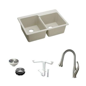 Elkay E-granite Drop-In 33-in x 22-in Bisque Double Offset Bowl Kitchen Sink All-in-One Kit