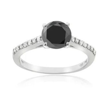 DB Designs Sterling Silver 1 1/7ct TDW Black and White Diamond Engagement Ring (6)