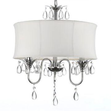 Gallery 3-Light Chrome and Crystal White Shade Chandelier
