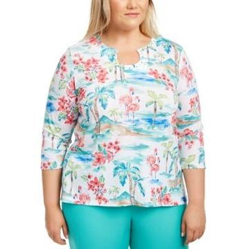 Alfred Dunner Plus Size Printed Embellished Top