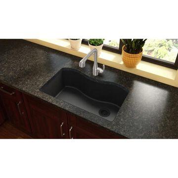 Elkay Harmony Undermount 33-in x 20-in Black Single Bowl Kitchen Sink   ELGUS3322RBK0