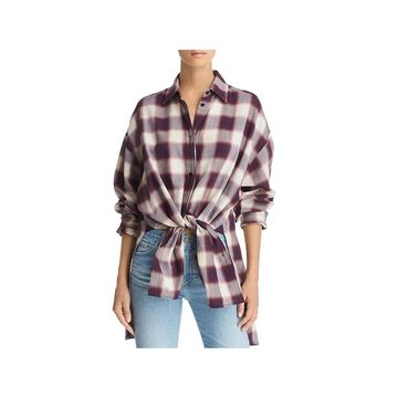 Elizabeth and James Womens Clive Button-Down Top Oversized Plaid
