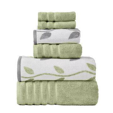 Pacific Coast Textiles Vines 6-piece Yarn Dyed Organic Bath Towel Set, Green, 6 Pc Set