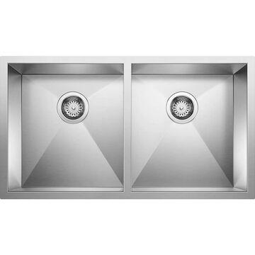 BLANCO Quatrus Undermount 32-in x 18-in Satin Double Equal Bowl Kitchen Sink   518170