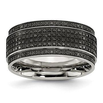 Chisel Stainless Steel Polished 1/2ct. Black Diamond Ridged Edge Band (Black - White - 10)