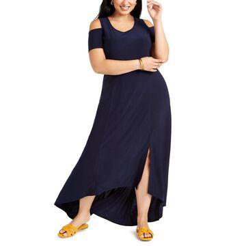 Petite Plus Size Cold-Shoulder Maxi Dress