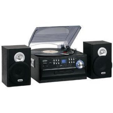 Jensen 3-speed Turntable With Cd, Cassette & Am And Fm Stereo Radio Jenjta475