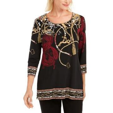 Jm Collection Printed Beaded Tunic, Created for Macy's