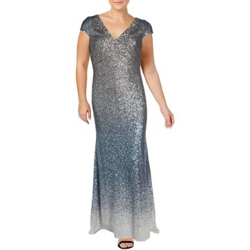Carmen Marc Valvo Womens Evening Dress Sequined Ombre