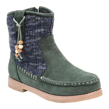 MUK LUKS Women's Kellie Ankle Boot Army Green/Marl Faux Suede