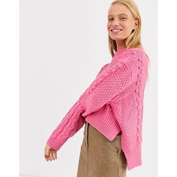 ASOS WHITE crop bobble cable knit-Multi