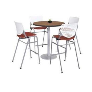 KFI Mode Bistro Table Set, River Cherry Top, 4 Kool Stools (White, Coral)