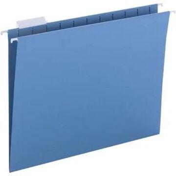 Business Source 1/5-cut Hanging File Folders - Blue - 8 1/2