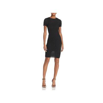 T by Alexander Wang Womens Bodycon Dress Wool Blend Ruffled - Black
