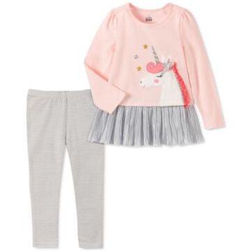 Kids Headquarters Baby Girls 2-Pc. Unicorn Tunic & Striped Leggings Set