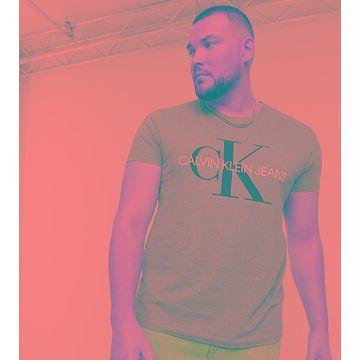 Calvin Klein Jeans Big & Tall monogram logo slim fit T-shirt in gray-Grey