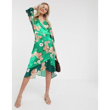 Liquorish satin kimono midi dress in mixed green floral
