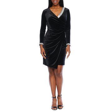 MSK Long Sleeve Embellished Velvet Sheath Dress