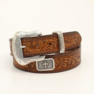 Nocona N2300037-42 Mens Prescott Embossed Laced Edge Belt & Buckle, Light Brown - Size 42