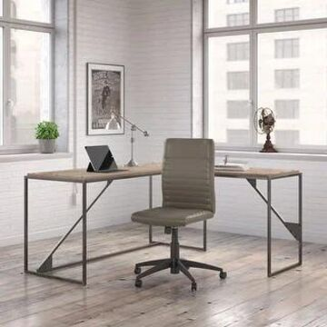 Bush Furniture Refinery L Shaped Desk with Ribbed Leather Office Chair (Rustic Gray)