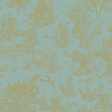 Beacon House Zen Garden Turquoise Toile Wallpaper