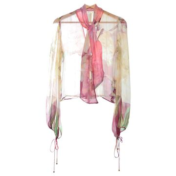 Roberto Cavalli Pink Silk Tops