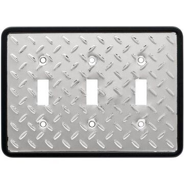 Franklin Brass Diamond Plate Triple Switch Wall Plate in Polished Chrome