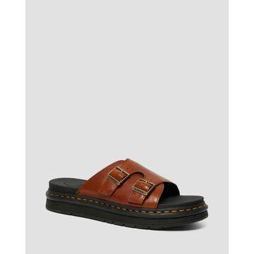 Dr. Martens, Dax Men's Luxor Leather Slide Sandals in Tan, Size 10