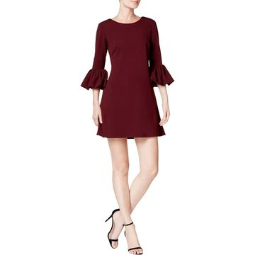 Betsy & Adam Womens Petites Bell Puff Sleeves Professional Mini Dress