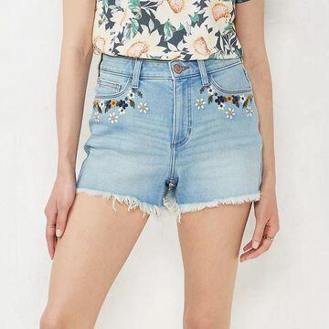 "Women's LC Lauren Conrad 3.5"" Embroidered Cutoff-Hem High-Waisted Jean Shorts, Size: 14, Light Blue"
