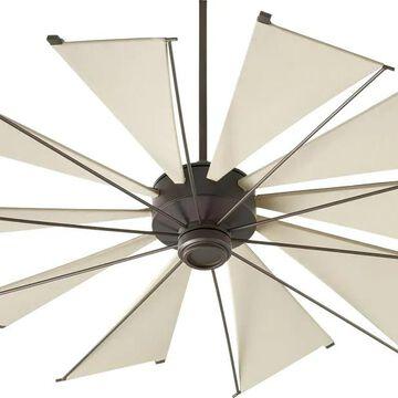Quorum International Mykonos 60-in Oiled Bronze Indoor/Outdoor Ceiling Fan Wall-mounted with Remote (10-Blade) | 66010-86