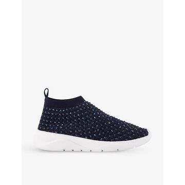 Dune Womens Navy-fabric Embers Crystal-embellished Sock Trainers 8