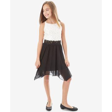 Big Girls Contrast Sequin Lace Dress