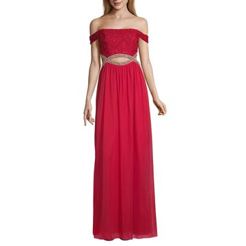Speechless Short Sleeve Embellished Ball Gown-Juniors
