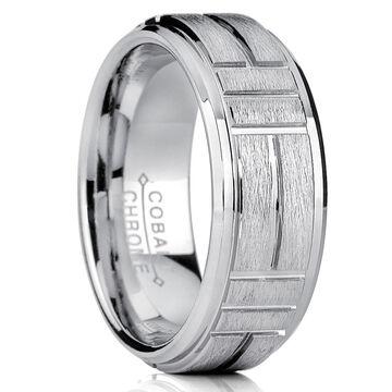 Oliveti Cobalt Men's Grooved Textured Brushed Finish Comfort Fit Ring