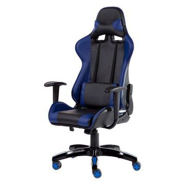 Costway High Back Racing Style Gaming Chair Reclining Office Task (Blue+Black)