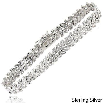Finesque Sterling Silver 1/2ct TDW Diamond Leaf Bracelet