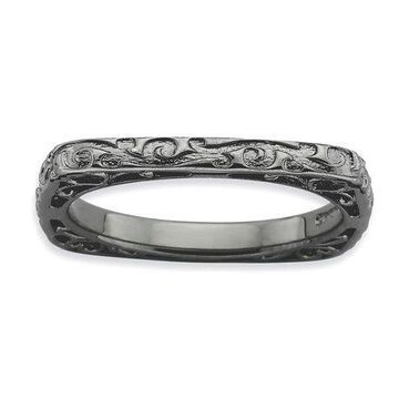 925 Sterling Silver Black Scroll Pattern Square Ring