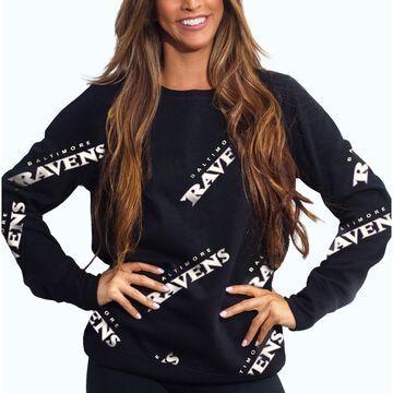 Women's Cuce Black Baltimore Ravens Running Back Pullover Sweatshirt